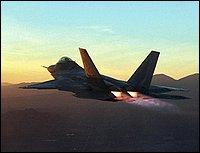 L'F-22 accende i post bruciatori