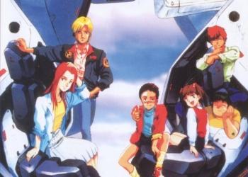 Christina Mackenzie, Bernard Wiseman, Alfred Izuruha, Dorothy, Chay e Telcott seduti sulle mani del RX-78NT-1 Gundam G-4 Alex