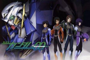 Setsuna F. Seiei, Lockon Stratos, Allelujah Haptism e Tieria Erde con alle loro spalle il GN-001 Gundam Exia