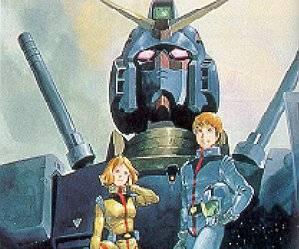 Amuro e Seyla con il Gundam alle spalle