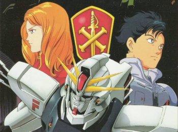 Seabook Arno e Cecily Fairchild con il Gundam F91 e lo stemma della Crossbone Vanguard