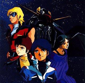 Quattro, Amuro, Camille e Four con alle spalle lo Z Gundam e sullo sfondo lo spazio