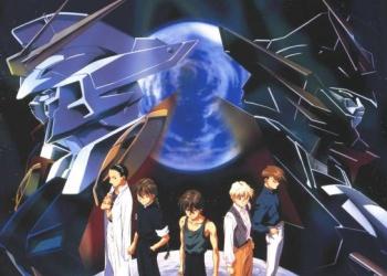 I cinque protagonisti di Gundam Wing e due MS